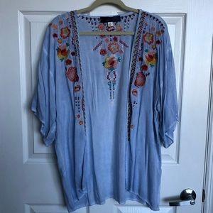 Light blue embroidered floral kimono